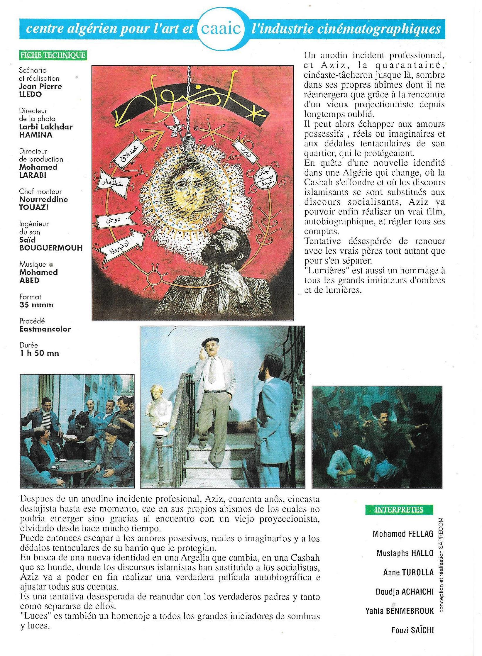 LUMIERES - Synopsis francais et espagnol + Photo