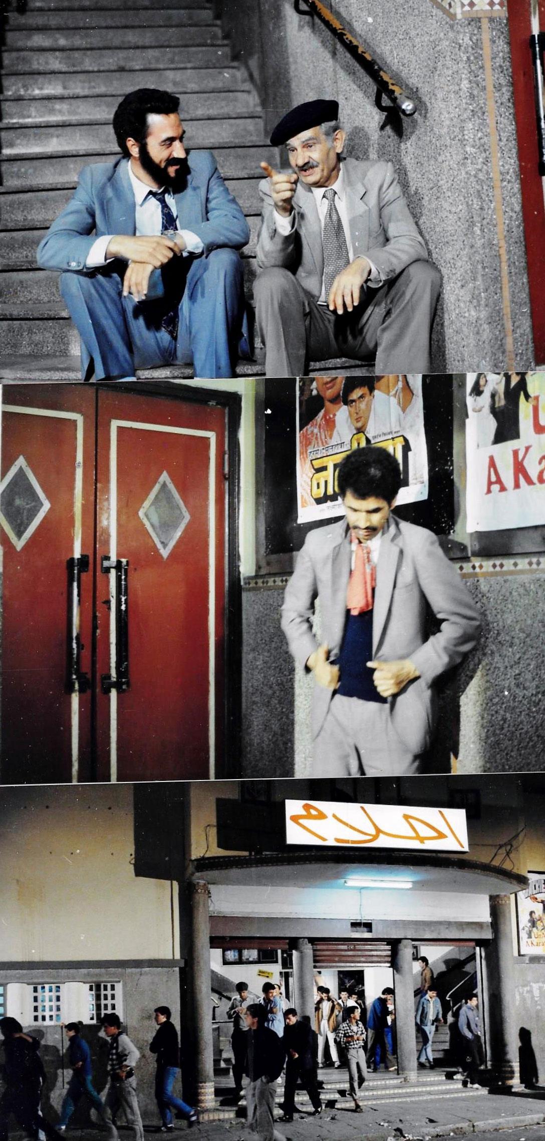 Le-Vieux-raille-les-spectateurs-de-son-ex-salle.-Mustapha-Halo-+-Mohamed-Fellag----1988-LUMIERES